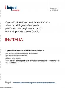 Unipol - Invitalia Assicurazione Incendio Furto A Favore Agenzia Nazionale - Modello 3401 Edizione 01-06-2012 [24P]