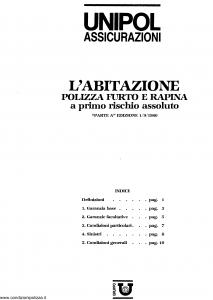 Unipol - L'Abitazione Polizza Furto E Rapina A Primo Rischio Assoluto - Modello 7012 Edizione 01-09-1986 [SCAN] [11P]