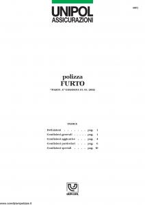 Unipol - Polizza Furto - Modello 4001 Edizione 01-01-2002 [13P]