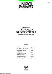 Unipol - Polizza Garanzia Di Fornitura - Modello 5019 Edizione 10-2006 [12P]