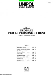 Unipol - Polizza Globale Persone E Beni - Modello 7099 Edizione 01-2002 [13P]