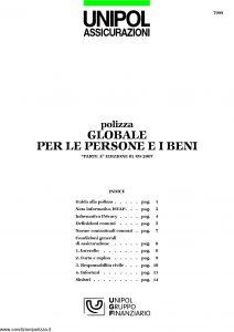 Unipol - Polizza Globale Persone E Beni - Modello 7099 Edizione 09-2007 [20P]