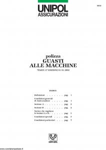 Unipol - Polizza Guasti Alle Macchine - Modello 5018 Edizione 01-01-2002 [8P]