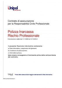 Unipol - Polizza Inarcassa Rischio Professionale - Modello 2029 Edizione 09-2011 [52P]