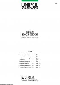 Unipol - Polizza Incendio - Modello 3001 Edizione 01-09-2007 [24P]