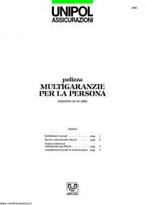 Unipol - Polizza Multigaranzie Per La Persona - Modello 1036 Edizione 01-2002 [8P]