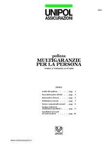 Unipol - Polizza Multigaranzie Per La Persona - Modello 1036 Edizione 07-2006 [15P]