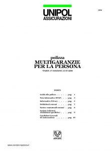 Unipol - Polizza Multigaranzie Per La Persona - Modello 1036 Edizione 07-2006 Stampa 04-2007 [16P]