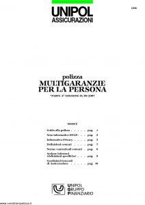 Unipol - Polizza Multigaranzie Per La Persona - Modello 1036 Edizione 09-2007 [16P]
