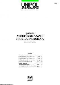 Unipol - Polizza Multigaranzie Per La Persona - Modello 1036 Edizione 12-2005 [15P]
