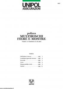 Unipol - Polizza Multirischi Fiere E Mostre - Modello 4025 Edizione 01-08-2003 [13P]