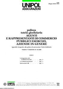 Unipol - Polizza Tutela Giudiziaria Agenti E Rappresentanti Di Commercio - Modello 2090 mod 2314 Edizione 10-2006 [4P]
