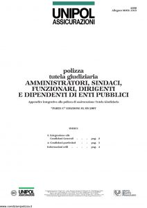 Unipol - Polizza Tutela Giudiziaria Amministratori Sindaci Funzionari Dirigenti E Dipendenti Enti Pubblici - Modello 2090 mod 2315 Edizione 09-2007 [4P]
