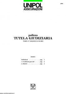 Unipol - Polizza Tutela Giudiziaria - Modello 2090 Edizione 08-2003 [5P]