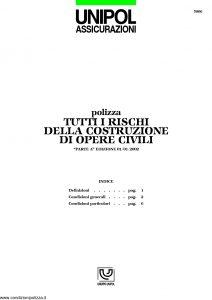Unipol - Polizza Tutti I Rischi Della Costruzione Opere Civili - Modello 5006 Edizione 01-2002 [9P]