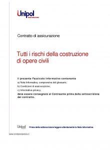 Unipol - Polizza Tutti I Rischi Della Costruzione Opere Civili - Modello 5006 Edizione 08-2011 [28P]