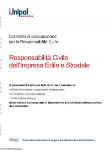 Unipol - Responsabilita' Civile Dell'Impresa Edile E Stradale - Modello 2026 Edizione 07-2011 [30P]