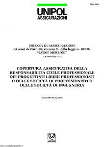 Unipol - Responsabilita' Civile Professionale Liberi Professionisti Societa' Di Professionisti O Societa' Di Ingegneria - Modello 2030 Edizione 12-2005 [8P]