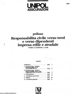 Unipol - Responsabilita' Civile Verso Terzi E Verso Dipendenti Impresa Edile E Stradale - Modello 2026 Edizione 01-10-1996 [SCAN] [14P]