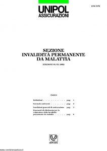 Unipol - Sezione Invalidita Permanente Da Malattia - Modello 1036-ipm Edizione 01-2002 ver. 04-2003 [14P]