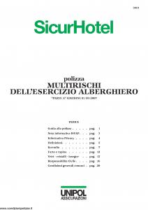 Unipol - Sicurhotel Multirischi Dell'Esercizio Alberghiero - Modello 3019 Edizione 01-09-2007 [24P]
