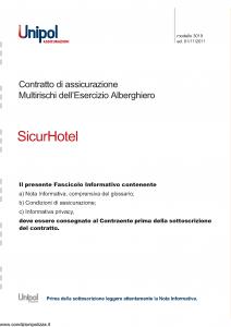 Unipol - Sicurhotel Multirischi Dell'Esercizio Alberghiero - Modello 3019 Edizione 01-11-2011 [32P]