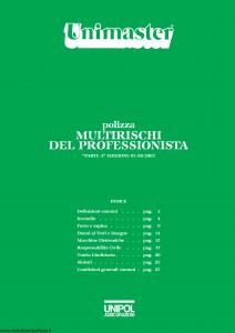 Unipol - Unimaster Multirischi Del Professionista - Modello 2027 Edizione 01-08-2003 [27P]