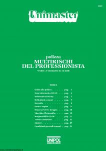 Unipol - Unimaster Multirischi Del Professionista - Modello 2027 Edizione 01-10-2006 [36P]