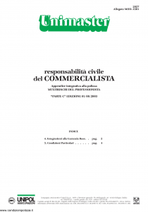 Unipol - Unimaster Responsabilita' Civile Del Commercialista Allegato 2301 - Modello 2027 Edizione 01-08-2003 [4P]