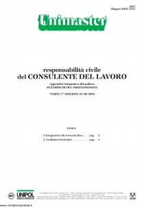 Unipol - Unimaster Responsabilita' Civile Del Consulente Del Lavoro Allegato 2317 - Modello 2027 Edizione 01-08-2003 [4P]