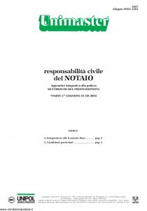 Unipol - Unimaster Responsabilita' Civile Del Notaio Allegato 2304 - Modello 2027 Edizione 01-08-2003 [4P]