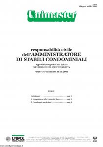 Unipol - Unimaster Responsabilita' Civile Dell'Amministratore Di Stabili Condominiali Allegato 2319 - Modello 2027 Edizione 01-08-2003 [4P]