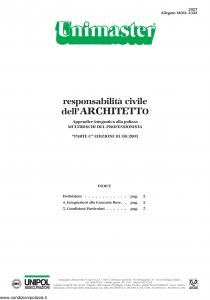 Unipol - Unimaster Responsabilita' Civile Dell'Architetto Allegato 2322 - Modello 2027 Edizione 01-08-2003 [6P]