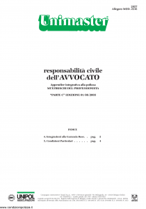 Unipol - Unimaster Responsabilita' Civile Dell'Avvocato Allegato 2316 - Modello 2027 Edizione 01-08-2003 [4P]