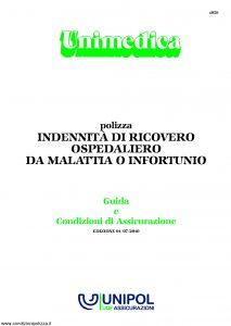 Unipol - Unimedica Indennita' Di Ricovero Ospedaliero Da Malattia O Infortunio - Modello 1059 Edizione 07-2010 [28P]