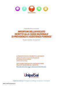 Unipolsai - Infortuni Dell'Avvocato Iscritto Alla Cassa Nazionale Di Previdenza E Assistenza Forense - Modello 1031-6162 Edizione 07-2017 [34P]