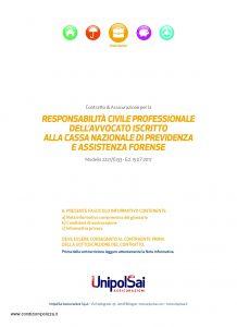 Unipolsai - Responsabilita' Civile Professionale Dell'Avvocato - Modello 2227-6133 Edizione 07-2017 [28P]