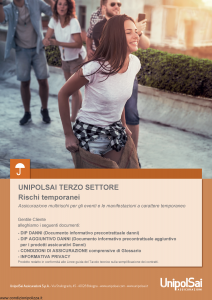 Unipolsai - Terzo Settore Rischi Temporanei - Modello si-7400-005 Edizione 15-01-2019 [76P]