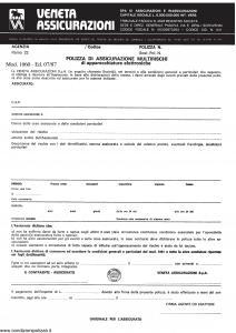 Veneta - Polizza Multirischi Apparecchiature Elettroniche - Modello 1060 Edizione 07-1987 [SCAN] [2P]