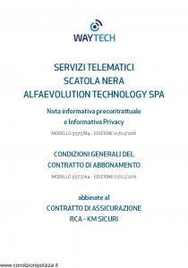 Waytech - Condizioni Generali Abbinate Al Contratto Rca Km Sicuri - Modello 9377-a4 Edizione 01-02-2016 [36P]