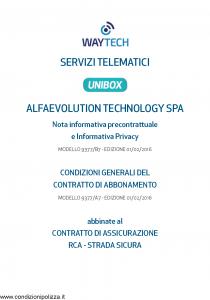 Waytech - Condizioni Generali Abbinate Al Contratto Rca Strada Sicura - Modello 9377-a7 Edizione 01-02-2016 [40P]
