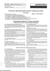 Winterthur - Polizza Contro Danni Del Furto - Modello 11f Edizione 1987 [6P]